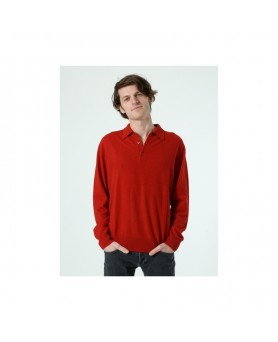 Pull col polo H Rouge