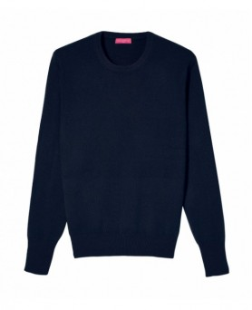 Cashmere round neck sweater Navy blue men