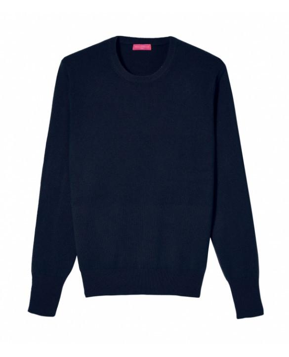 Cashmere round neck sweater Navy blue men