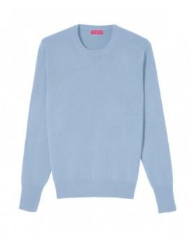 Cashmere round neck sweater Ice blue men