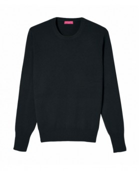 Pull col rond cachemire Noir Homme