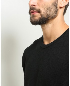 Pull Homme col rond cachemire Noir
