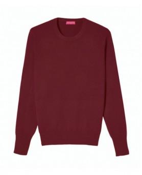 Cashmere round neck sweater Burgundy men