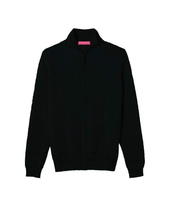 Cashmere zip sweater Black men