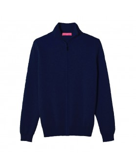 Cashmere zip sweater Navy blue men