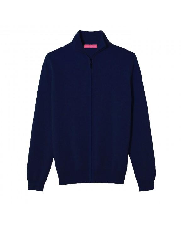 Cashmere zip sweater Navy blue men