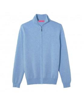 Cardigan con zip in Cashmere Blu ghiaccio da Uomo