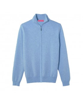 Cashmere zip sweater Ice blue men