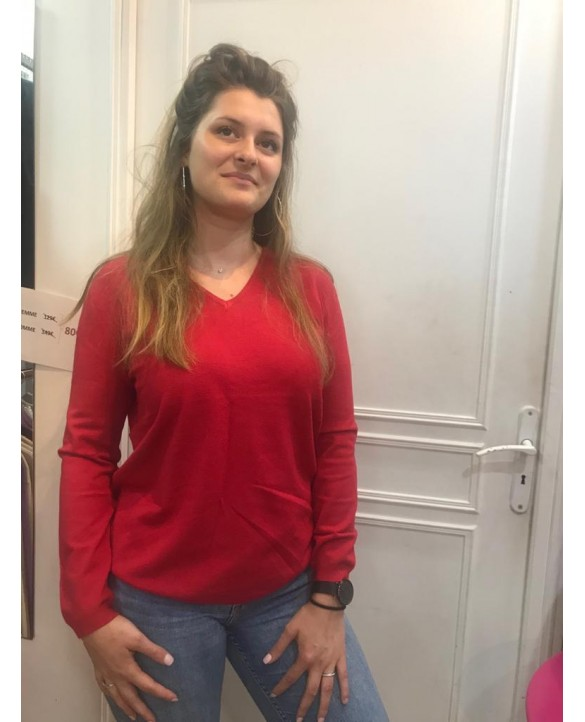 Cashmere Bamboo V-neck sweaters Red