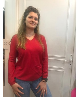 Pull Cachemire Bambou col V Rouge