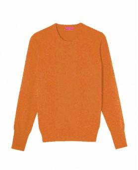 Кашемировый Свитер с круглым воротником - Мужской Темно оранжевый