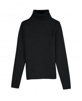 Кашемировый свитер с высоким воротником толстый Черный