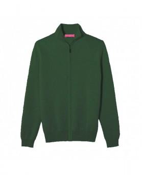 Cardigan con zip in Cashmere Verde scuro da Uomo