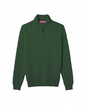 Cashmere zip sweater Dark green men