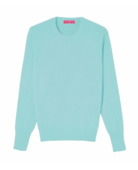 Pull col rond cachemire Bleu Lagon Homme