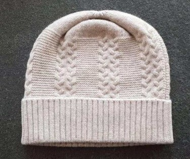 Cashmere and wool beanie hat
