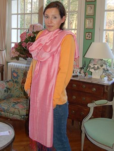 Cashmere and silk water pashmina shawl