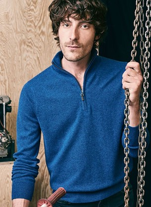 Cashmere zip neck jumper Men