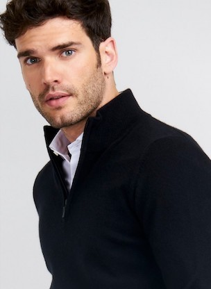 Cashmere 8-ply Zip neck jumper Men