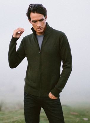Cashmere zip sweater men